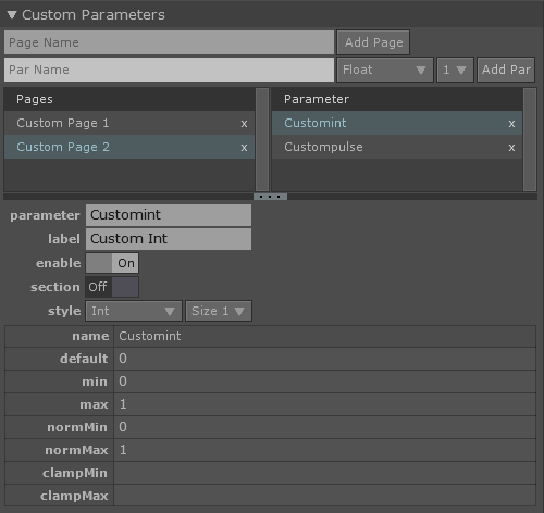 Component Editor Parameters