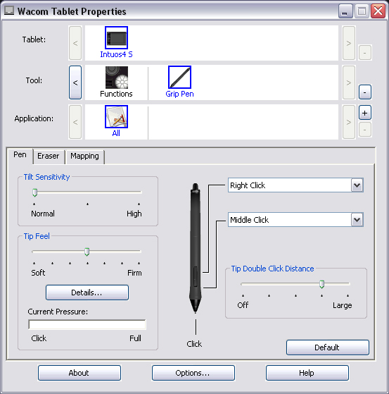 how to change pressure on wacom tablet