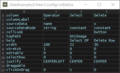 Column Definition (colDefine) table